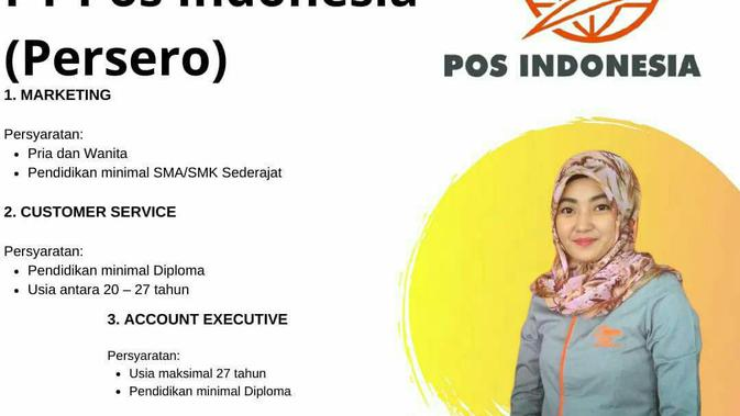 Poster lowongan kerja PT Pos Indonesia.
