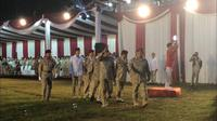 Ketua Umum Partai Gerindra Prabowo Subianto berseragam loreng-loreng tutup Konfernas Gerindra. (Lliputan6.com/Muhammad Radityo Priyasmoro)