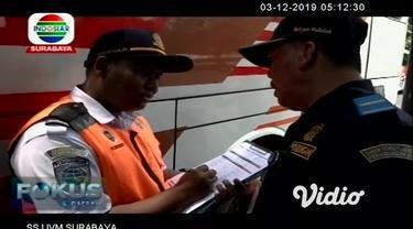 Tiga pekan jelang libur natal dan tahun baru Kementerian Perhubungan melalui Balai Pengelola Transportasi Darat, BPTD, Jatim melakukan sidak kelayakan armada angkutan bus di Terminal Purabaya.