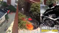 Sedan BMW terbaru hangus terbakar setelah dilakukan persembahan berupa sajend dan dupa. (Shanghaiist)