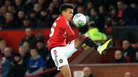 Greenwood tercatat sebagai pemain muda terbaik Manchester United dalam akurasi tembakan. Ia berhasil mencatatkan rata-rata 2,2 tembakan mengarah ke gawang per 90 menit di Premier League. (AFP/Lindsey Parnaby)
