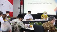 Menko PMK Muhadjir Effendy menyebutkan larangan mudik lebaran tahun ini akan dimulai tanggal 6 sampai 17 Mei 2021 saat Rapat Tingkat Menteri di Kantor Kemenko PMK, Jakarta, Jumat (26/3/2021). (Dok Kemenko PMK)