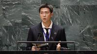 RM BTS di Sidang Umum PBB 2021. (John Angelillo/Pool Photo via AP)