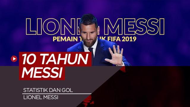 Berita video statistik dan gol Lionel Messi 10 musim terakhir di semua ajang.