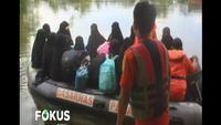Evakuasi dilakukan menyusul kian tingginya banjir akibat luapan Sungai Kampar akibat curah hujan dan dibukanya pintu Bendungan PLTA Koto Panjang.