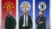 Premier League - Pelatih Brendan Rodgers, Ole Gunnar Solskjaer, Frank Lampard (Bola.com/Adreanus Titus)