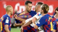 Gelandang Barcelona, Sergio Busquest, menyebut dua hasil imbang yang diraih secara beruntun di La Liga 2019-2020 memberi keuntungan buat Real Madrid. (AFP/Cristina Quicler)