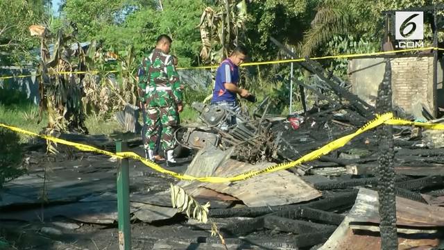 Rumah dinas milik seorang anggota TNI di Palangkaraya kebakaran.