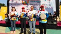 Kiri-kanan : ibu Larasati Sedyaningsih (wakil kemenpar utk tim percepatan 10 destinasi prioritas), H Abdul fatah (wagub babel), Agus Susanto (dirut bpjstk), H Sahani saleh (Bupati Belitung).