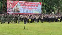 Apel pasukan TNI Polri yang akan bertugas melakukan pengamanan TPS di Balai Kota Depok, Senin (7/12/2020). (Foto: Liputan6/Dicky Agung Prihanto)