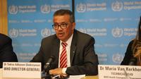 """Direktur Jenderal Organisasi Kesehatan Dunia (WHO) Tedros Adhanom Ghebreyesus berbicara dalam sebuah konferensi pers di Jenewa, 11 Maret 2020. WHO menyatakan wabah COVID-19 dapat dikategorikan sebagai """"pandemi"""" karena virus tersebut telah menyebar semakin luas ke seluruh dunia. (Xinhua/Chen Junxia)"""