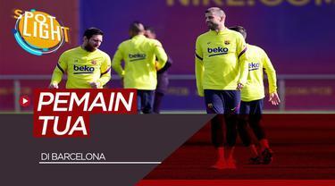 Berita video spotlight kali ini akan membahas siapa saja pemain tua yang ada di skuad Barcelona musim ini, ada Gerard Pique dan Lionel Messi.