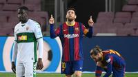 Lionel Messi mengubah permainan Barcelona saat mengalahkan Elche 3-0 pada lanjutan Liga Spanyol (AFP)
