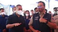 Gubernur DKI Jakarta Anies Baswedan meninjau vaksinasi Covid-19 di Sentra Vaksinasi NasDem Peduli. (Istimewa)