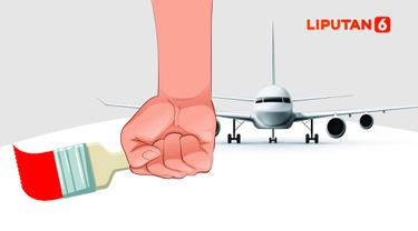 Banner Infografis Cat Biru Berganti Merah Pesawat Kepresidenan
