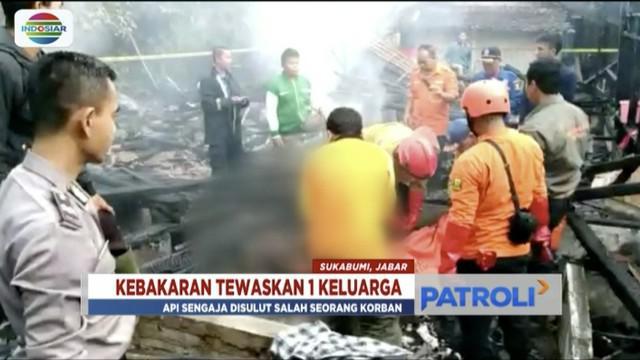 Seorang kepala keluarga diduga sengaja bakar rumah sendiri yang sedang dihuni istri, anak, dan saudaranya.