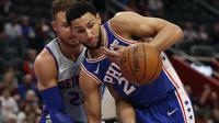 Ben Simmons saat Sixers menang atas Pistons pada lanjutan NBA (AP)
