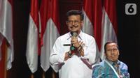 Menteri Pertanian Syahrul Yasin Limpo memberikan paparan saat diskusi panel IV Rakornas Indonesia Maju antara Pemerintah Pusat dan Forum Koordinasi Pimpinan Daerah (Forkopimda) di Bogor, Rabu (13/11/2019). Panel IV membahas pembangunan Infrastuktur. (Liputan6.com/Herman Zakharia)