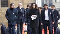 Mantan pemain AC Milan, Filippo Inzaghi  tiba menghadiri upacara pemakaman Davide Astori di Florence, Italia, Kamis (8/3). Davide Astori meninggal pada usia 31 tahun di kamar hotel setelah terkena serangan jantung. (AP Photo/Alessandra Tarantino)