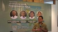 Menkominfo Rudiantara di acara diskusi Pembangunan Indonesia Sentris: Pemerataan Papua di kawasan Jakarta, Minggu (5/3/207). (Liputan6.com/Andina Librianty)