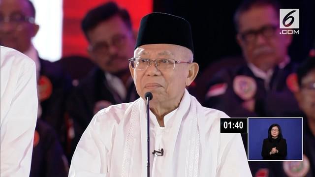 Ditanya tentang penyelesaian kasus terorisme, Ma'ruf Amin sebut terorisme itu bukan jihad dan harus diberantas hingga akar-akarnya.