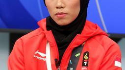 Penyumbang Emas Pertama Indonesia Asian Games 2018, Atlet Taekwondo Defia Rosmaniar saat berkunjung ke SCTV, Senayan City, Jakarta, Senin (20/8). Kunjungannya tersebut untuk melakukan wawancara. (Liputan6.com/Johan Tallo)