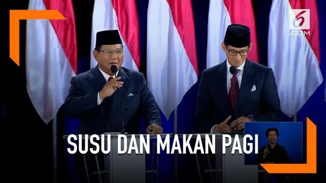 Demi peningkatan gizi, Prabowo berjanji di pemerintahannya nanti akan memberi siswa susu dan makan pagi di sekolah.