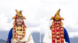 Foto kombinasi ini memperlihatkan aksesori yang dikenakan seorang wanita dalam peragaan busana Tibet di padang rumput Zhaqingtang di Wilayah Sertar, Provinsi Sichuan, China barat daya (7/8/2020). (Xinhua/Jiang Hongjing)