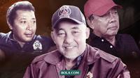 Pelatih berkharisma Makassar yang Berkiprah Bersama Timnas Indonesia: Bertje Matulapelwa, Syamsuddin Umardan M. Basri. (Bola.com/Dody Iryawan)