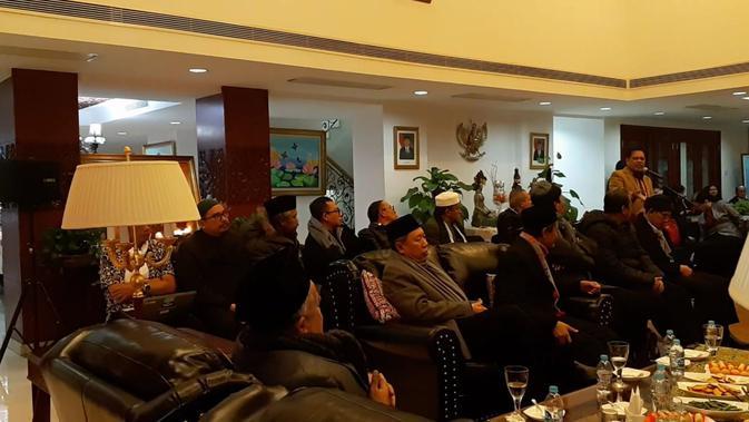 Sejumlah perwakilan dari MUI, Muhammadiyah dan NU di KBRI Beijing (19/2/2019) yang akan melawat ke Xinjiang pekan ini (Rizki Akbar Hasan / Liputan6.com)