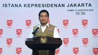 Juru Bicara Satgas Penanganan COVID-19 Wiku Adisasmito menyebut tingkat kesembuhan Indonesia per 27 Agustus 2020 72,8 persen saat konferensi pers di Istana Kepresidenan Jakarta, Kamis (27/8/2020). (Dok Biro Pers Sekretariat Presiden/Rusman)