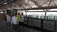 Menaker Hanif Dhakiri jajal MRT pada Senin (25/2/2019) (Foto: Liputan6.com/Ilyas I)