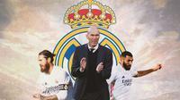 Real Madrid - Sergio Ramos, Zinedine Zidane, Karim Benzema (Bola.com/Adreanus Titus)