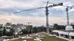 Suasana proyek revitalisasi Taman Ismail Marzuki (TIM) Tahap I, Jakarta, Rabu (6/1/2021). Proyek revitalisasi TIM Tahap I tersebut ditargetkan rampung pada pertengahan tahun 2021. (merdeka.cim/Iqbal S. Nugroho)