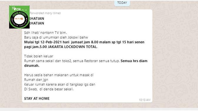 Cek Fakta Liputan6.com menelusuri informasi Jakarta akan menerapkan lockdown pada 12 hingga 15 Februari 2021