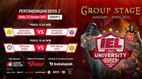 Live streaming IEL University Super Series 2021 fase grup E, Rabu (27/1/2021) pukul 17.00 WIB dapat disaksikan melalui platform Vidio, laman Bola.com, dan Bola.net. (Dok. Vidio)