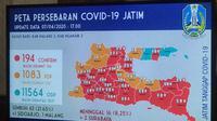 Peta persebaran Corona COVID-19 di Jawa Timur pada Selasa, 7 April 2020. (Foto: Liputan6.com/Dian Kurniawan)