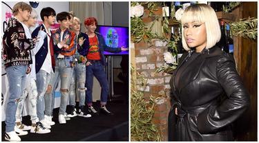 BTS dan Nicki Minaj (Foto: AFP / Alberto E. Rodriguez / GETTY IMAGES NORTH AMERICA, AFP / Jamie McCarthy / GETTY IMAGES NORTH AMERICA)