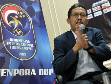 Joko Driyono, menerangkan bahwa event ini menggunakan format pertandingan setengah kompetisi dan diselenggarakan di dua kota yakni Bandung dan Malang  (Liputan6.com/ Helmi Fithriansyah)