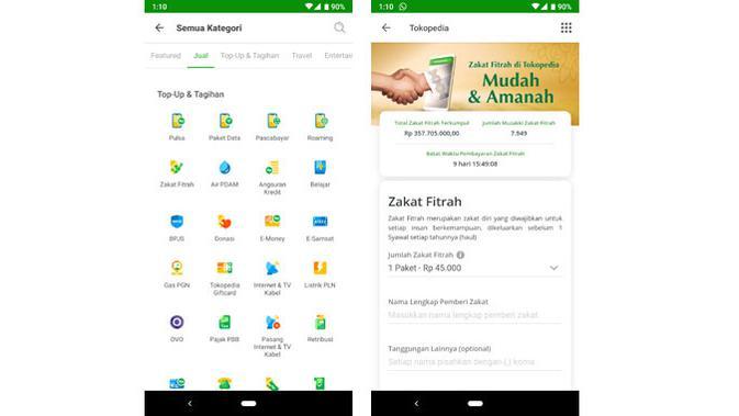 Tokopedia menyediakan layanan bagi pengguna yang ingin menyalurkan zakat fitrah. (Liputan6.com/ Yuslianson)