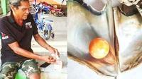 Nelayan Thailand mendapat rezeki nomplok dengan menemukan mutiara oranye yang harganya ditaksir lebih dari empat miliar (dok,instagram/@thadayamagain/https://www.instagram.com/explore/tags/orangepearl/?hl=en/Komarudin)