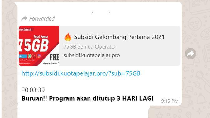 Informasi program subsidi kuota internet pelajar gelombang pertama 2021
