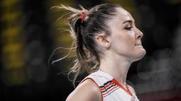 Zehra Gunes merupakan anggota skuad timnas bola voli putri Turki untuk Olimpiade Tokyo 2020. (Foto/AP/Manu Fernandez)