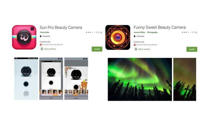 Aplikasi Beauty Camera yang mengandung malware iklan (Foto: Phone Arena)