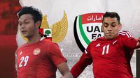 Indonesia vs Uni Emirat Arab: Saddam Emiruddin vs Caio Canedo. (Bola.com/Dody Iryawan)
