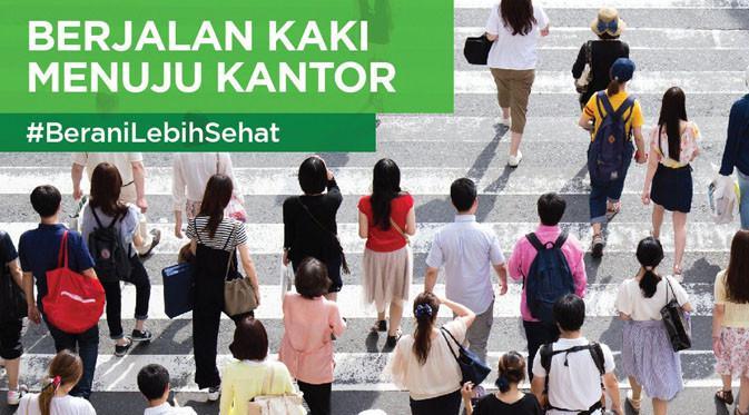 Berjalan kaki menuju kantor untuk aksi #BeraniLebihSehat.