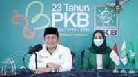 Ketua Umum Partai Kebangkitan Bangsa (PKB), Abdul Muhaimin Iskandar saat memberikan sambutan dalam rangka peringatan Hari Lahir PKB ke-23 secara virtual, Jumat (23/7/2021). (Ist)
