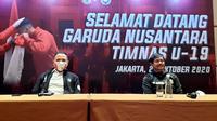 Ketua PSSI, Mochamad Iriawan dan Direktur Teknik PSSI, Indra Sjafri di Hotel Fairmont, Jakarta, Selasa (27/10/2020). (Istimewa).
