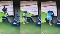 Anjing itu meloloskan diri dari pagar kawat pada hari yang sama si tetangga membalasnya dengan lemparan ke dalam tong sampah. (Sumber KHOU)