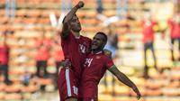 Striker naturalisasi, Ezra Walian, mencetak gol pertamanya untuk Timnas Indonesia saat melawan Kamboja pada SEA Games 2017 Kuala Lumpur. (Bola.com/Vitalis Yogi Trisna)